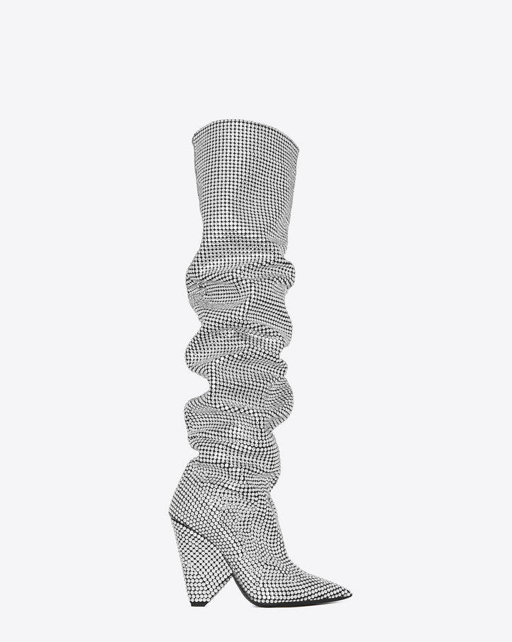 metallic knee boot