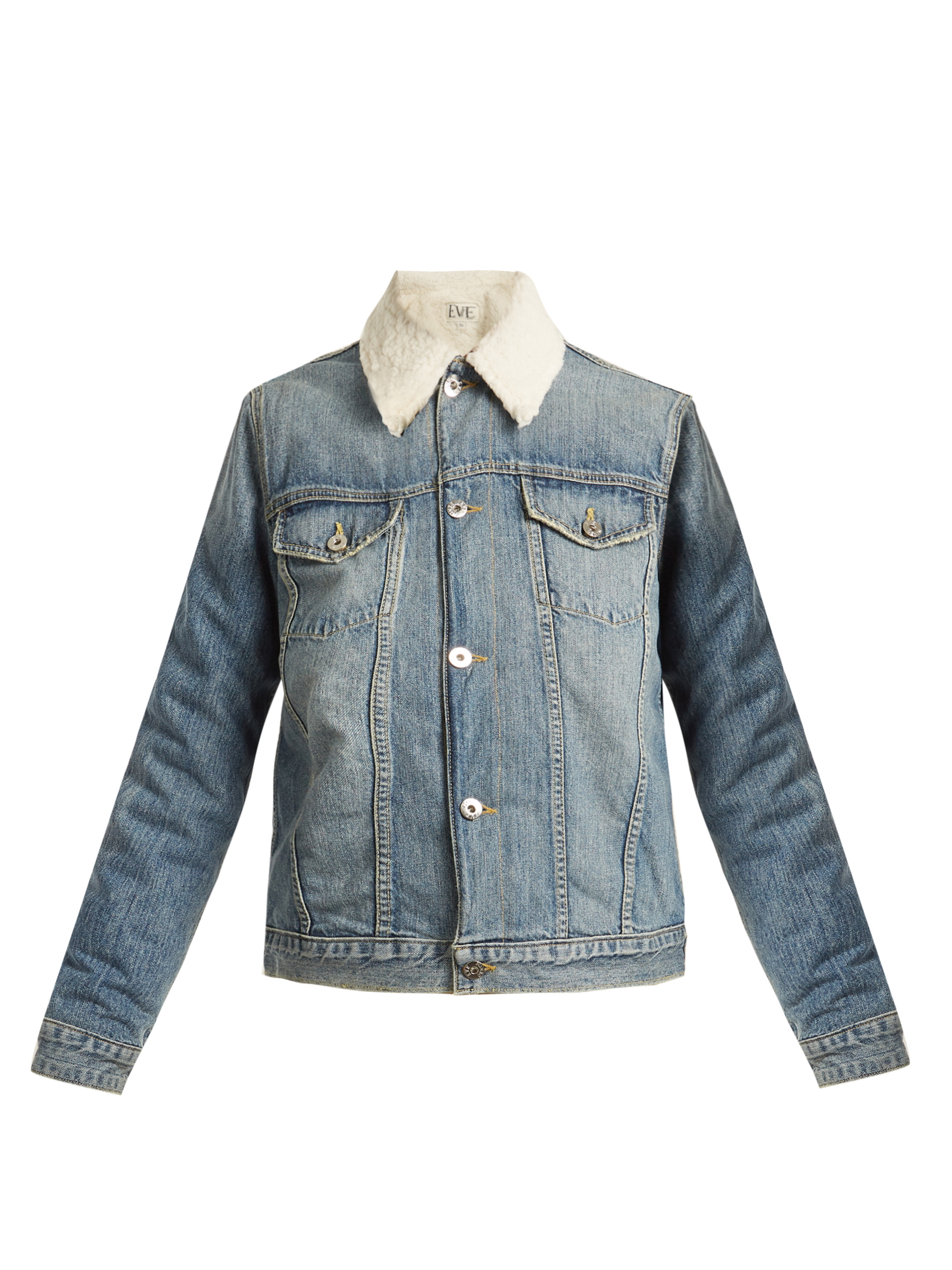 EVE DENIM  Sophia faux-shearling lined denim jacket