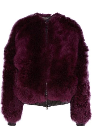 TOM FORD Leather-trimmed shearling bomber jacket