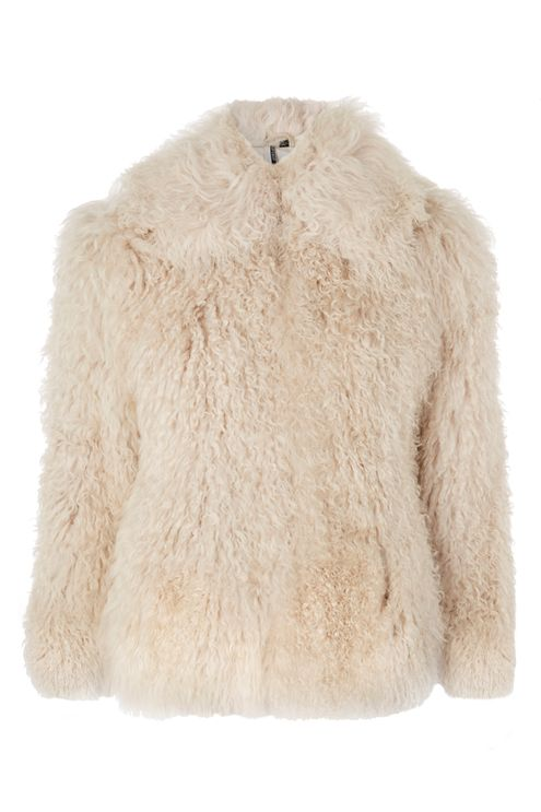 Topshop cream shearling shaggy jacket
