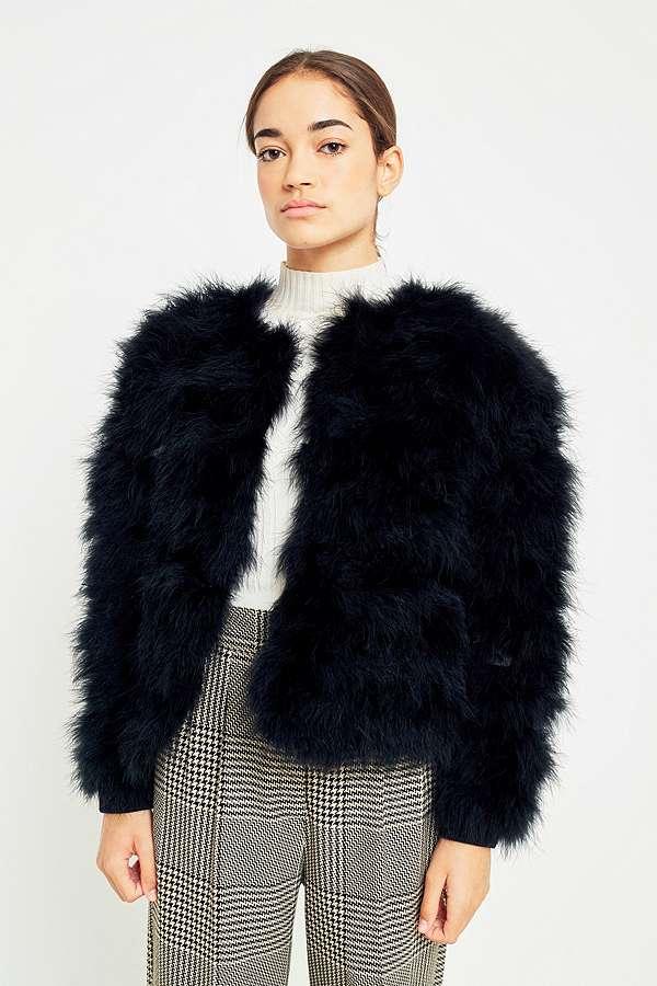 Urbanoutfitters Light Before Dark Black Marabou Faux Fur Jacket