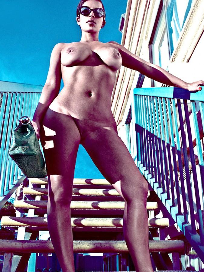 Kim-Kardashian-Nude-And-Eyebrowless-In-Love-Magazine-12-675x900