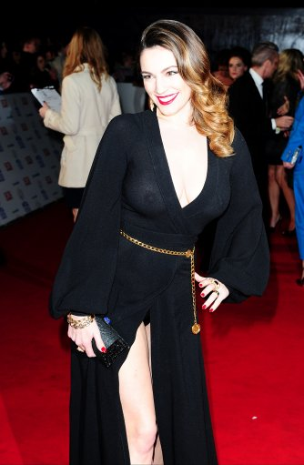 Kelly Brook Braless In Almost Sheer Dress At National Television Awards