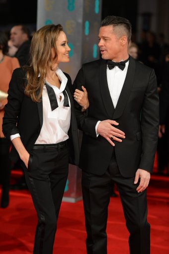 Angelina Jolie And Brad Pitt Wear Tuxedos on The Red Carpet At BAFTA Film Awards