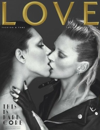 Kate Moss Kisses Transsexual Model For LOVE Magazine Cover
