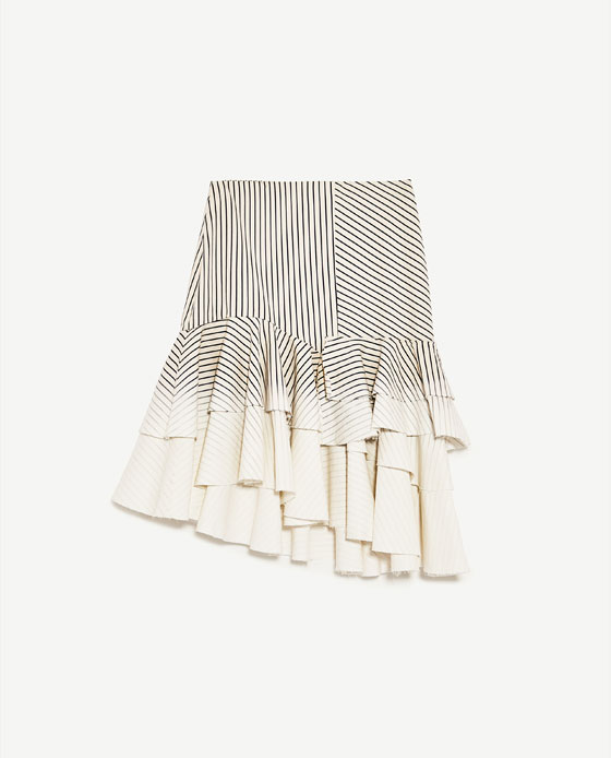 ZARA ASYMMETRIC DENIM SKIRT WITH STRIPES 25.99 GBP zara.com