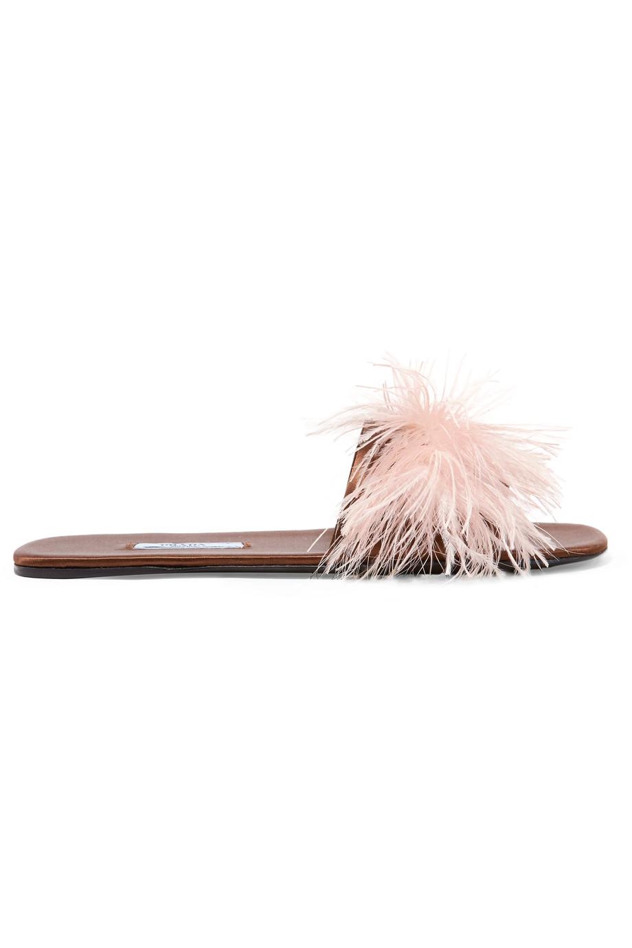 PRADA Feather-embellished satin slides £490 netaporter.com