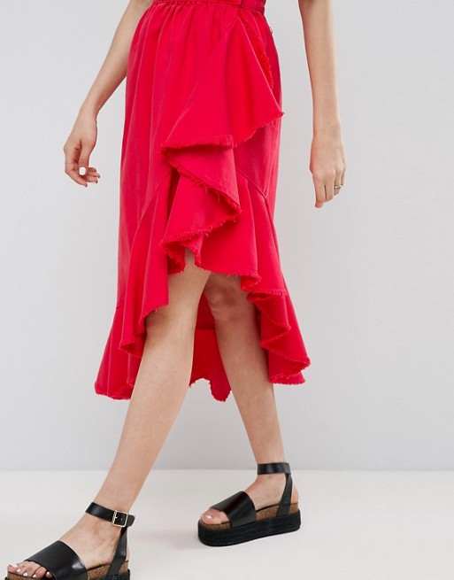 ASOS Denim Flamenco Skirt in Re £40.00 ASOS.COM