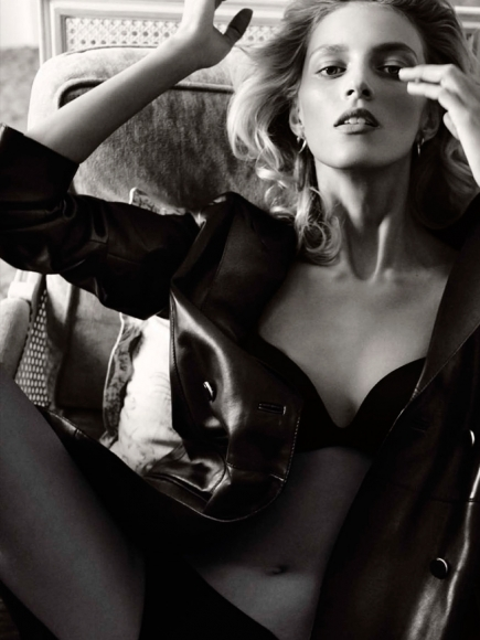 Anja Rubik Topless in Vogue Germany Magazine March 2014