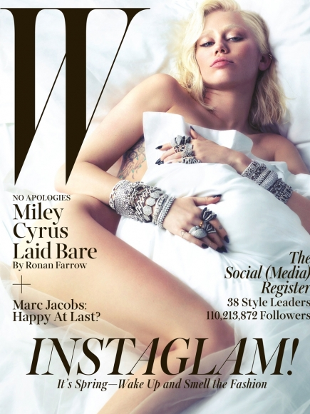 Miley Cyrus Covered Naked in W Magazine March 2014