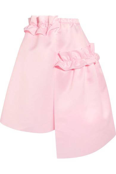 PASKAL Asymmetric ruffle-trimmed matte-satin skirt £435 netaporter.com