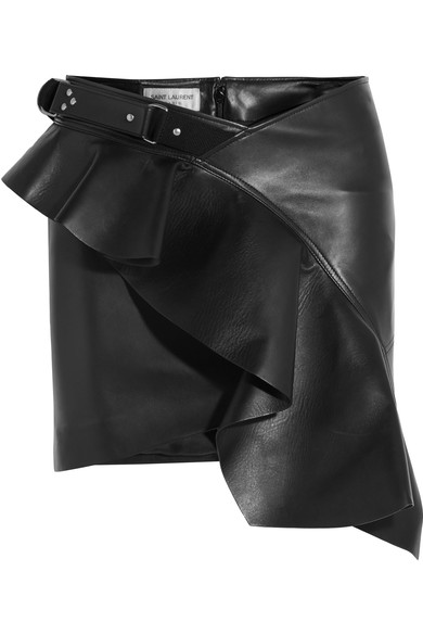 SAINT LAURENT Ruffled asymmetric leather mini skirt£2,565 netaporter.com