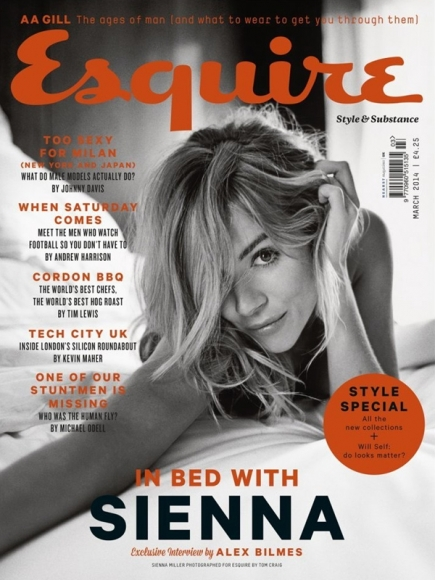 Sienna Miller Covered Topless in Esquire Magazine March 2014