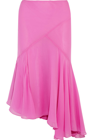 TOPSHOP UNIQUE Evelyn asymmetric pleated silk crepe de chine skirt £155 netaporter.com