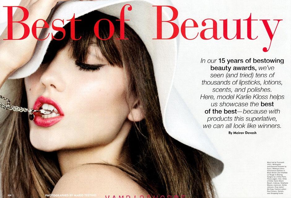 Karlie Kloss (Covered Topless) For Allure Magazine October 2011