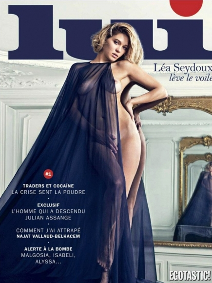 Léa Seydoux Topless Shoot by Mario Sorrenti in LUI Magazine 2013