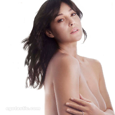 Monica Bellucci Covered Topless in Elle Magazine